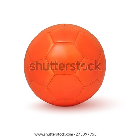 Realistic orange soccer ball icon, isolated on white background.