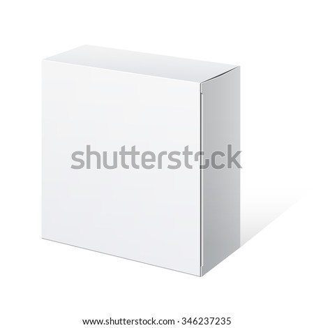 Realistic Package Cardboard Box. Square shape.