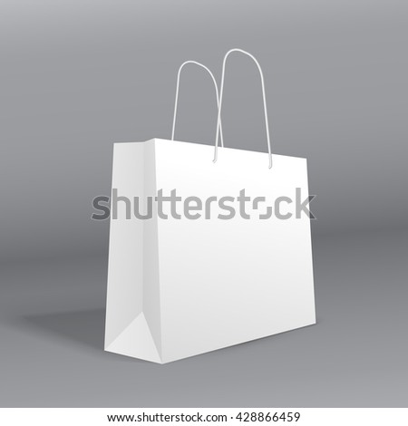 Realistic paper bag template.  Raster mock up - stock photo