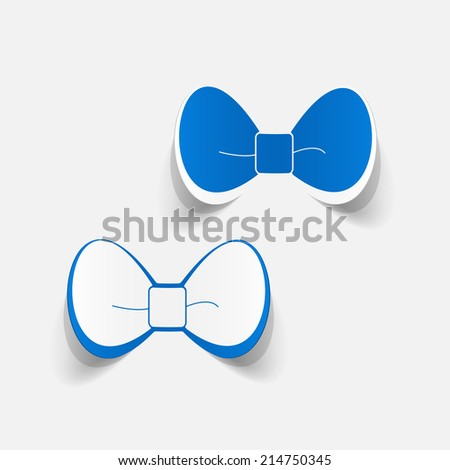 Realistic paper sticker: bow. Isolated illustration icon - stock photo