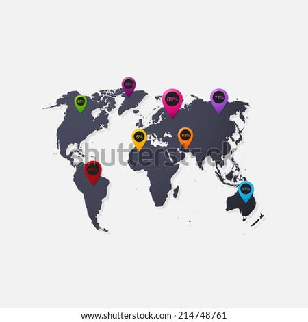 Realistic paper sticker: map of the world. Isolated illustration icon - stock photo