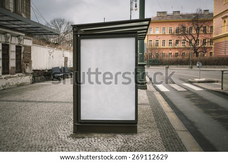 Realistic photo blank. Billboard on bus stop with the texture of the poster and highlights. For your advertisement or graphic design - stock photo