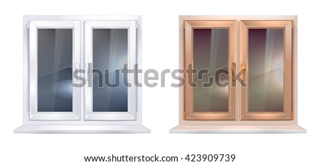 Realistic picture set of white and brown plastic windows isolate on white background - stock photo