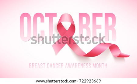 Realistic pink ribbon, breast cancer awareness symbol, illustration