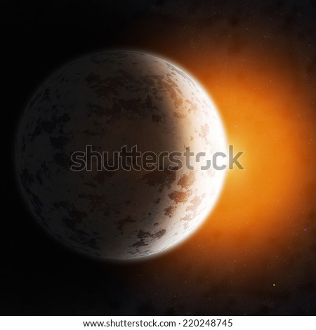 Realistic planet against the starry sky. Elements of this image furnished by NASA. - stock photo