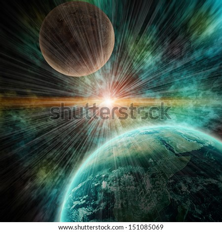 realistic planet earth in open space. Elements of this image furnished by NASA  - stock photo