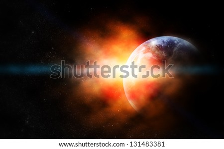 realistic planet earth in space. Elements of this image furnished by NASA - stock photo