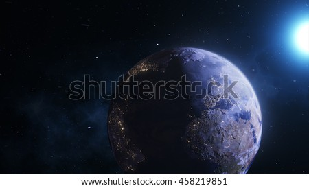 Realistic Planet Earth With the Sun and Stars in the Background. Fog, Glow, Earth's Atmosphere 4K. - stock photo