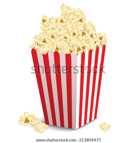 Popcorn Still Life Classic Containers Overflowing Stock Photo ...