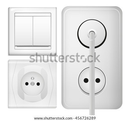 Realistic power socket, cable with plug and light switch. Illustration in 3d realistic style. Isolated object. - stock photo