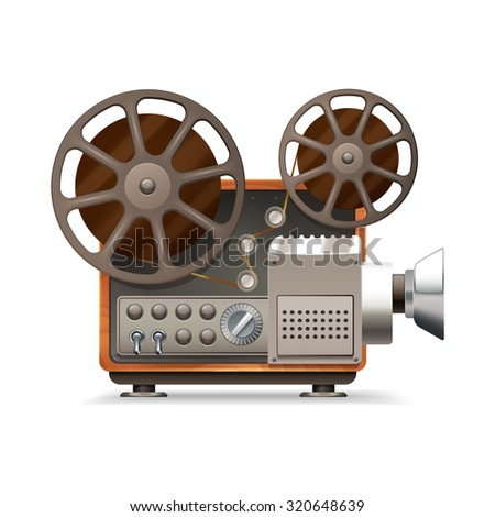 Realistic professional film projector profile isolated on white background  illustration - stock photo