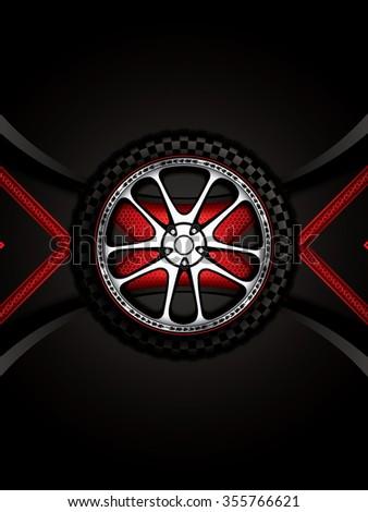 Realistic racing car wheel with shining rim - stock photo