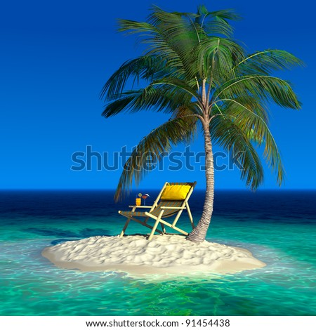 Realistic recreation concept under a palm tree on a small uninhabited tropical island - stock photo