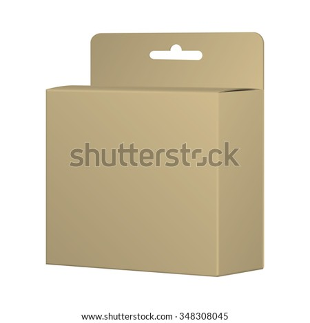 Realistic Recycled Card Product Package Box Mockup With Hang Slot. Blank Container, Packaging Template - stock photo