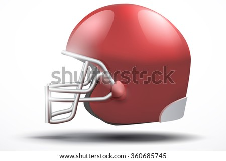 Realistic Red American football helmet with reflex. Equipment sport illustration. Side view.  Isolated on white background. - stock photo