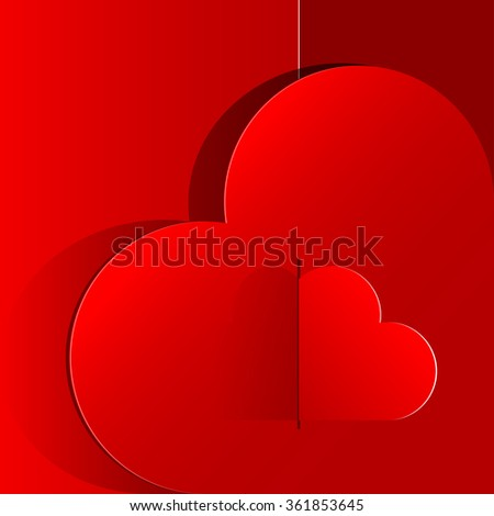 Realistic Red Heart inside a large heart. Valentine's day or Wedding background