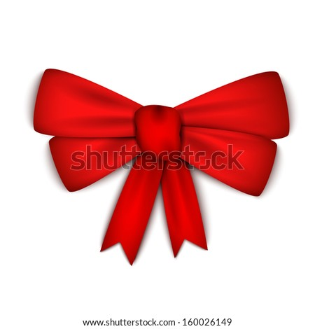 Realistic red ribbon bow - stock photo