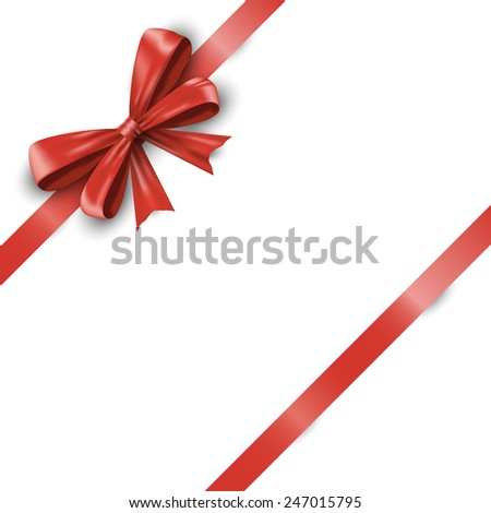 Realistic red ribbon bow with tails isolated on white background.