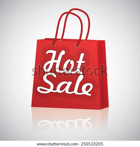 Realistic red shopping bag rope handles, text hot sale with reflaction on grey glossy background, raster. - stock photo