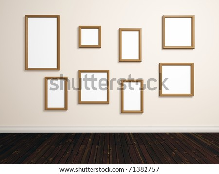 realistic render of room with different sized empty photo frames on white wall - stock photo
