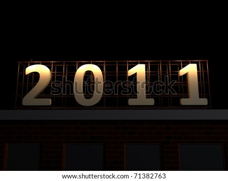 realistic render of 2011 sign at night on top of a building - stock photo
