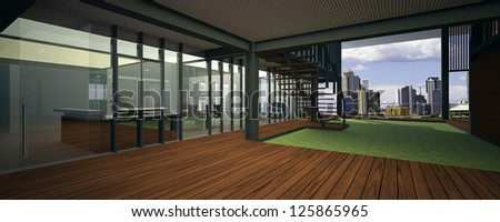 Realistic rendering of a modern office, with breathtaking view - stock photo