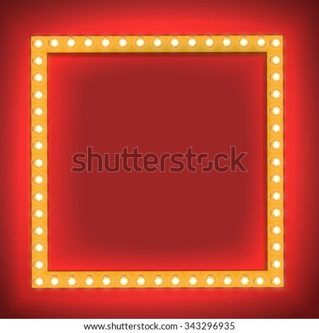 Realistic Retro light Bulb in the Square. Glowing Cinema Signboard with Light Bulb with a Blank Space for Text. 3D Volumetric Frame for your Template, Advertising, Promotions, text.  - stock photo