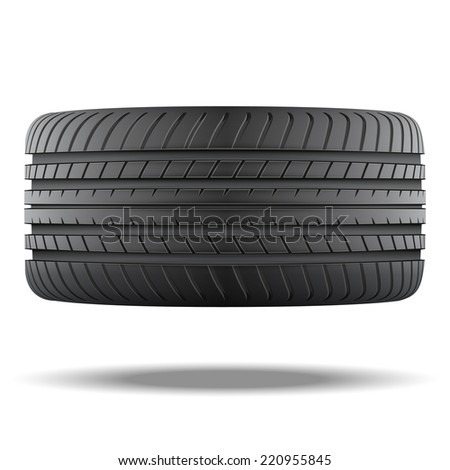 Realistic rubber tire symbol. Top view. Illustration isolated on white background. - stock photo