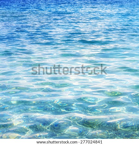 realistic sea water surface texture, travel background - stock photo