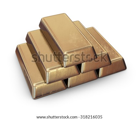 Realistic set of gold bars. 3D Icon isolated on white background - stock photo