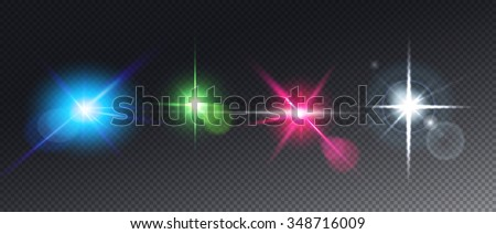 Realistic Set of Vector glowing light effect stars bursts with sparkles on transparent background. Abstract image of lighting flare. - stock photo