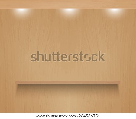 Realistic shelf on textured wooden background - stock photo