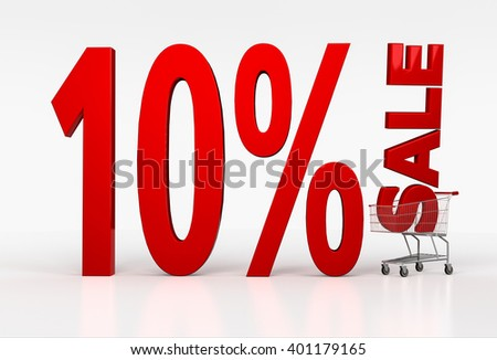 Realistic shopping cart with ten percent discount sign on white background. 3D render - stock photo