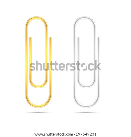 Realistic  silver and golden paper clips on white background - stock photo