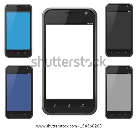 Realistic smartphone cellphone in iphone style alternate colors isolated on white - stock photo