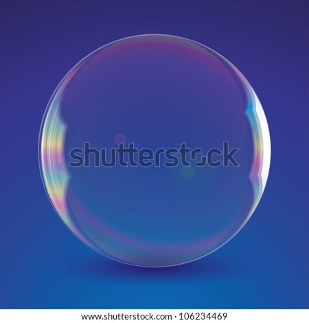 realistic soap bubble on blue background