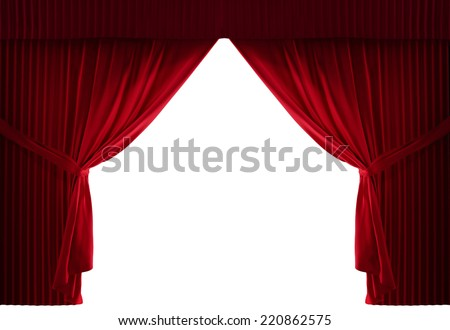 realistic stage curtains with a black background - stock photo
