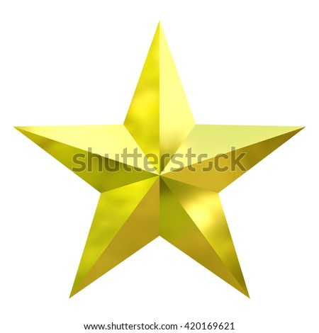Realistic Star on Isolated with clipping path 3D Render