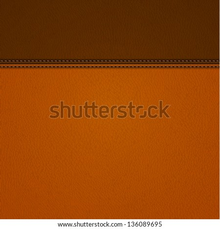 Realistic stitched leather background - raster version - stock photo