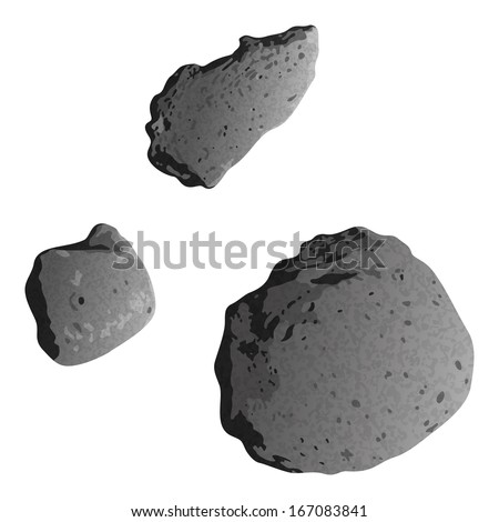 Realistic stone asteroids isolated on white background - asteroid Gaspra and ex asteroids, moons of Mars - Phobos and Deimos. Elements of this image furnished by NASA (http://solarsystem.nasa.gov). - stock photo
