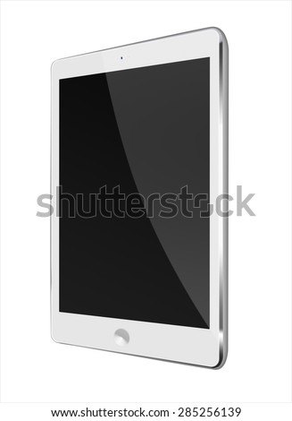 Realistic tablet computer ipad style mockup with black screen isolated on white background. Highly detailed illustration. - stock photo