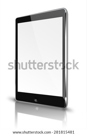 Realistic tablet computer ipad style mockup with blank screen and reflection isolated on white background. Highly detailed illustration. - stock photo