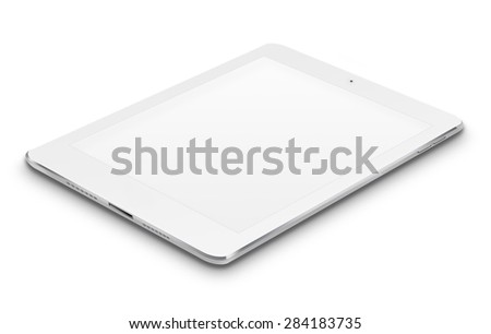 Realistic tablet computer ipad style mockup with blank screen isolated on white background. Highly detailed illustration. - stock photo