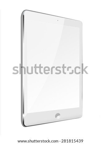 Realistic tablet computer ipade style mockup with black screen isolated on white background. Highly detailed illustration.