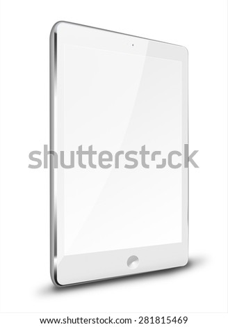 Realistic tablet computer ipade style mockup with blank screen isolated on white background. Highly detailed illustration.