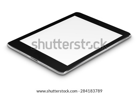 Realistic tablet computer ipade style mockup with blank screen isolated on white background. Highly detailed illustration. - stock photo