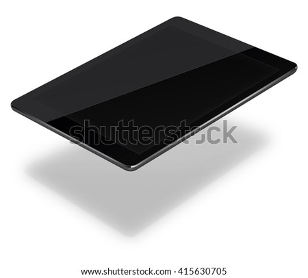 Realistic tablet pc computer in ipade style with black screen and shadows isolated on white background. 3D illustration. - stock photo