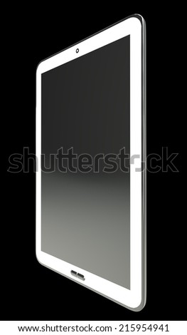 Realistic Tablet PC. isolated on black background 3d illustration. high resolution - stock photo