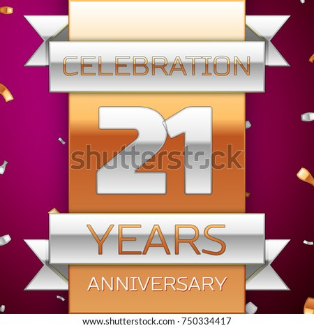 realistic twenty one years anniversary celebration design silver and golden ribbon confetti on purple