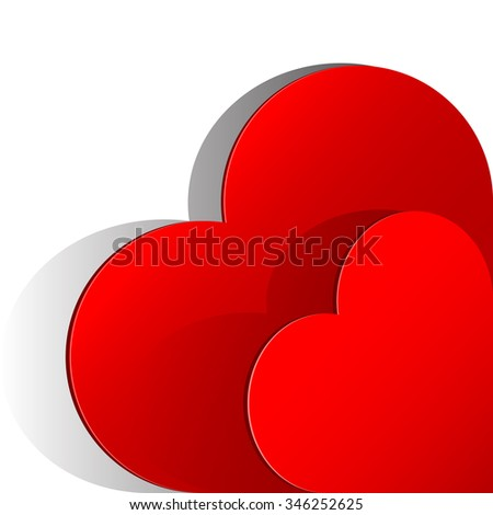 Realistic two Red Heart cut out of paper. Valentine's day or Wedding